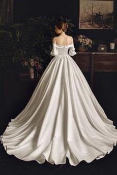 Robe de mariée Manche Longue Hiver Corsage plissé Salle aligne