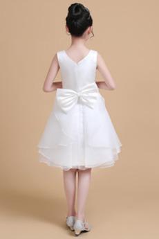 Robe de fille de fleur a ligne Manquant Simple Longueur de genou