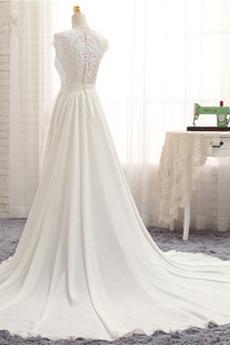 Robe de mariage Traîne Courte Fourchure Frontale Petit collier circulaire