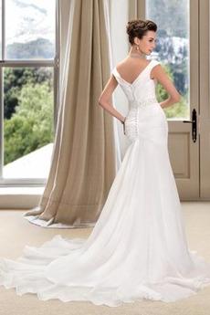 Robe de mariée Romantique Poire Drapé Traîne Mi-longue Haut Bas