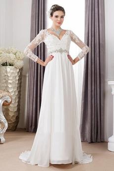 Robe de mariée Sexy Empire Traîne Courte Haut Bas Taille haute