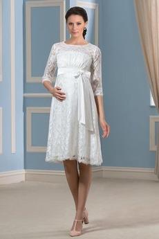 Robe de mariée Longueur de genou Petit collier circulaire Plage