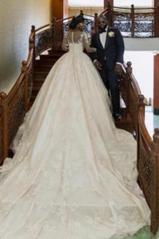 Robe de mariée Train de balayage Manche Aérienne Rosée épaule