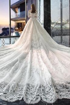 Robe de mariée Manche Courte Décalcomanie Dentelle Naturel taille