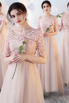 Robe de demoiselle d'honneur Elégant Rosée épaule Lacez vers le haut