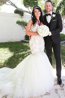 Robe de mariée Tulle Rivage col coeur Sans Manches Norme Perle