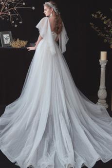 Robe de mariage Manche Courte vogue aligne Été Traîne Courte