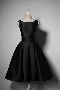 Robe de demoiselle d'honneur Simple A-ligne Satin Sans Manches