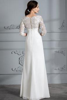 Robe de mariée Couvert de Dentelle Naturel taille Col en V Perlé