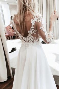 Robe de mariée Manche Longue Col Bateau A-ligne Chic Longueur de plancher