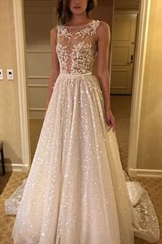 Robe de mariée Dos nu Traîne Mi-longue Sans Manches net Mode