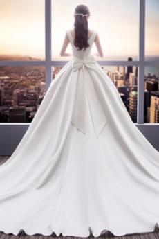Robe de mariée Satin Laçage A-ligne Sans Manches Cérémonial Norme