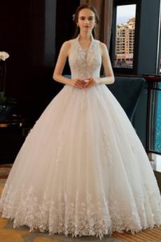 Robe de mariée Couvert de Dentelle Sans Manches Plage Été Tulle