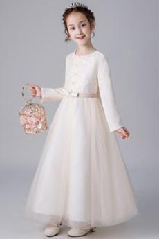Robe de fille de fleur Dentelle Petit collier circulaire Cérémonial