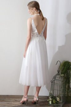Robe de mariée Simple Été Sans Manches Longueur Mollet Col en V