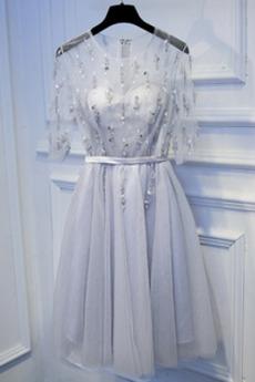 Robe de demoiselle d'honneur Chic aligne Naturel taille Longueur de genou
