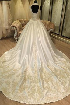 Robe de mariée Dos nu Formelle Traîne Longue ride Eglise A-ligne