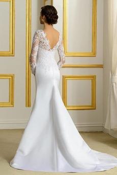 Robe de mariée Près du corps Traîne Mi-longue Désirable Col Bateau