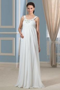 Robe de mariée Taille haute Fourreau plissé Larges Bretelles