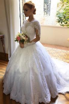 Robe de mariée gossamer Petit collier circulaire Fermeture à glissière