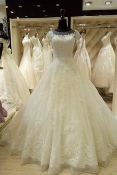 Robe de mariage Dentelle Automne Princesse Col Bateau Norme Appliquer