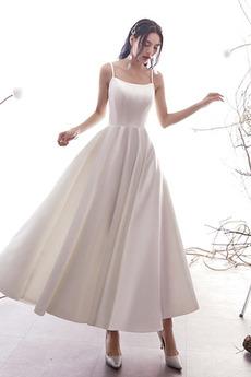 Robe de mariée a ligne Naturel taille Simple Longueur Mollet