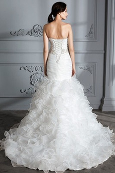 Robe de mariée Lacez vers le haut Drapé Col en Cœur Hiver Formelle