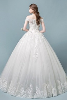 Robe de mariée Automne Décalcomanie Rosée épaule A-ligne Manche Courte