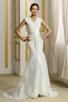 Robe de mariée Hiver Col en V Haute Couvert Maigre Satin Ruché