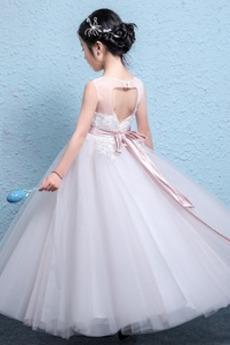 Robe de fille de fleur Tulle Sans Manches Orné de Nœud à Boucle
