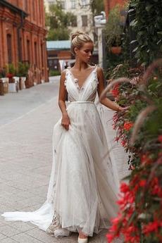 Robe de mariée Décalcomanie Naturel taille Col en V Foncé Longueur de plancher
