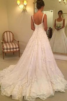 Robe de mariée Col Carré Corsage Avec Bijoux Traîne Mi-longue