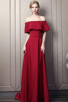 Robe de soirée A-ligne Laçage Satin Corsage Avec Bijoux Perle