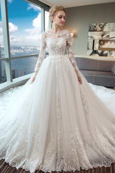 Robe de mariée Manche Longue Petit collier circulaire Longue
