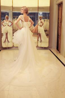 Robe de mariée Gradins Sans Manches Organza De plein air Désinvolte