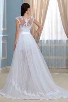 Robe de mariée Gaze Manche Courte Fourchure Frontale Satin Couvert de Dentelle