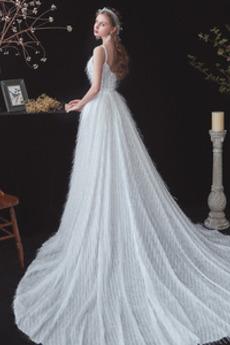Robe de mariée Naturel taille A-ligne Tulle vogue Longue De plein air