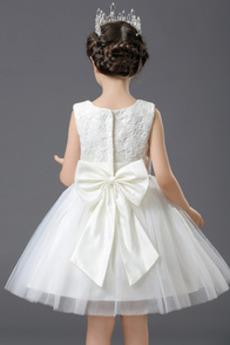 Robe de fille de fleur Tulle Sans Manches Fermeture à glissière