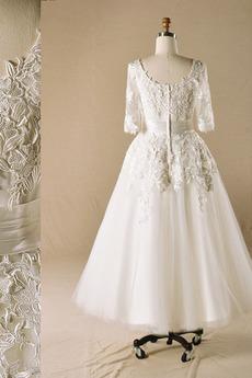 Robe de mariée Princesse Formelle Longueur Cheville Médium Manche Longue