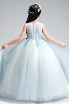 Robe de fille de fleur Luxueux Été aligne Sans Manches Balançoire