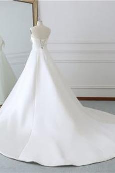 Robe de mariée Simple Sans courroies Nœud à Boucles Rivage Sans Manches