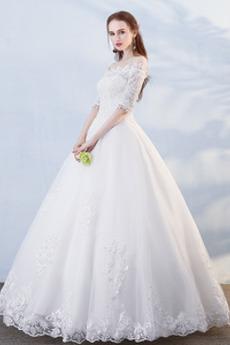 Robe de mariée Formelle Manche Demi Salle Longueur au sol A-ligne