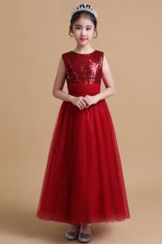 Robe de fille de fleur Luxueux Pailleté Longueur Cheville Tulle