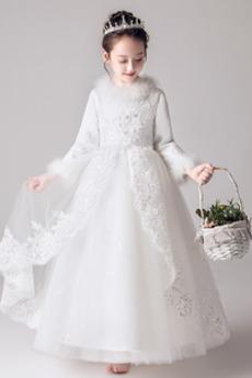 Robe de fille de fleur Longueur Cheville A-ligne Naturel taille