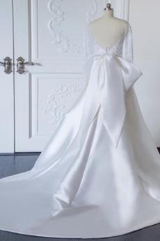 Robe de mariage Drapé Satin Longue Manche Longue Ancien Sage