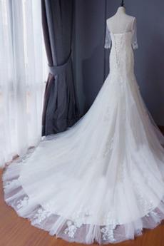 Robe de mariée Manche Aérienne Plage Drapé Lacez vers le haut