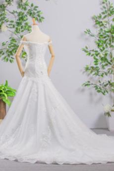 Robe de mariée Sirène Dépouillé Épaule envelopper Drapé Lacez vers le haut