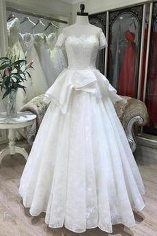 Robe de mariée Manche Courte Ruchés Plongeants Chaussez Traîne Courte
