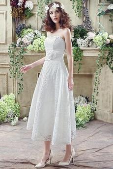 Robe de mariée Sans courroies Naturel taille Orné de Rosette