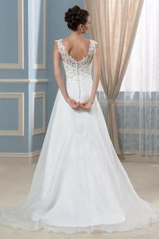 Robe de mariée Hiver Formelle Satin A-ligne Col en V Décalcomanie